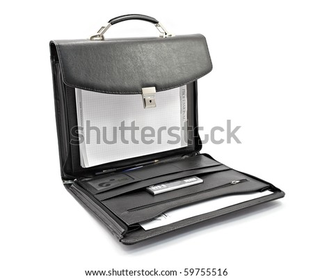 Black leather briefcase - stock photo