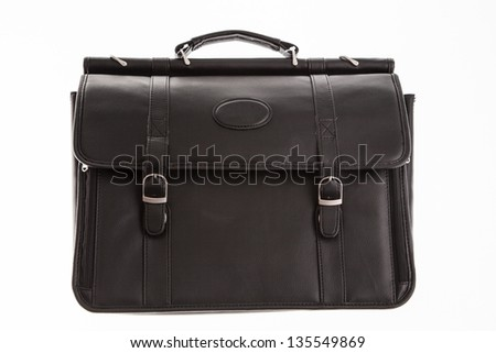 black leather briefcase - front view - stock photo