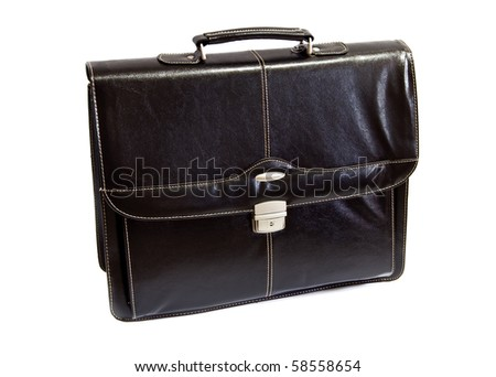 black leather briefcase - front view