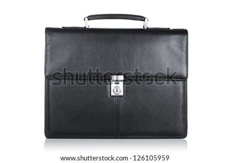 Black leather briefcase isolated on the white