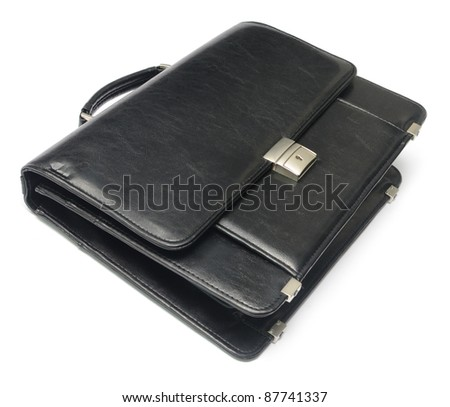 black leather briefcase isolated on white - stock photo