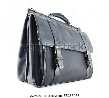 Black leather briefcase on the white background - stock photo