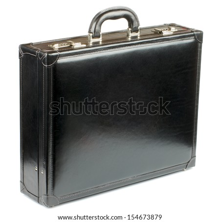 Black Leather Briefcase with Gold Details isolated on white background - stock photo