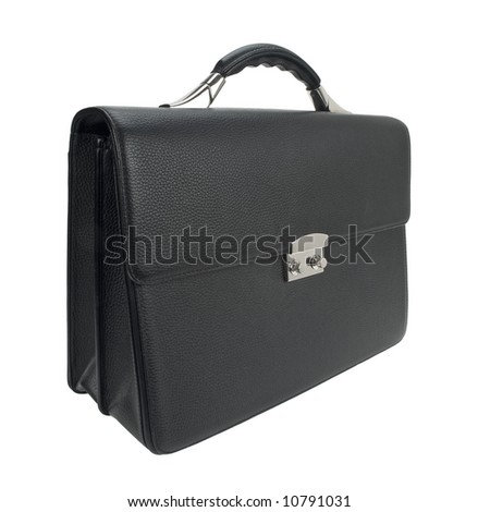 Black leather business briefcase isolated on white