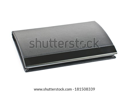 Black leather business card case isolated - stock photo
