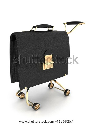 Black leather business case on wheels