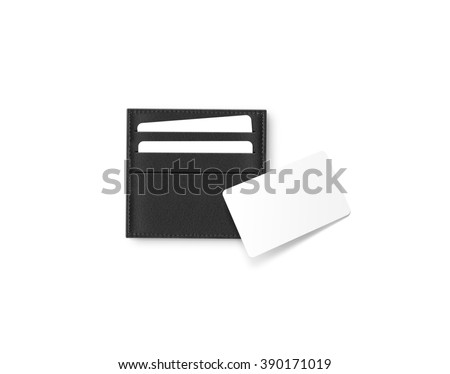 Black leather card holder with blank white card mock up isolated. Business credit cards mockup in sleeve cardholder pocket. Clear paper visiting id cards in grey wallet box. Logo design presentation. - stock photo