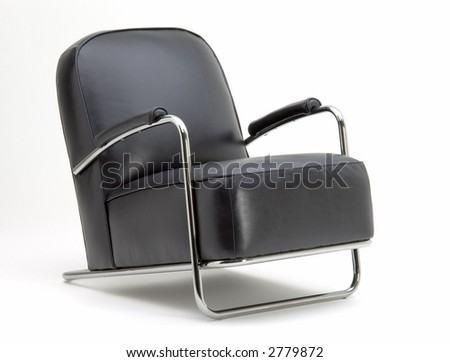 Black Leather Chair - stock photo