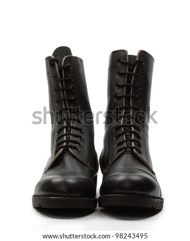 Black leather combat boots, isolated - stock photo