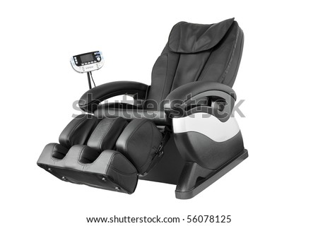 Black leather comfortable reclining massage chair. With Shiatsu, Tapping and Kneading therapeutic massages.