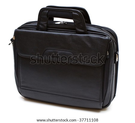 Black leather computer bag isolated on white background - stock photo