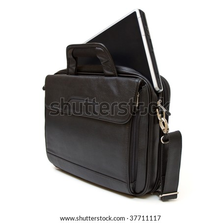 Black leather computer bag with laptop isolated on white background - stock photo