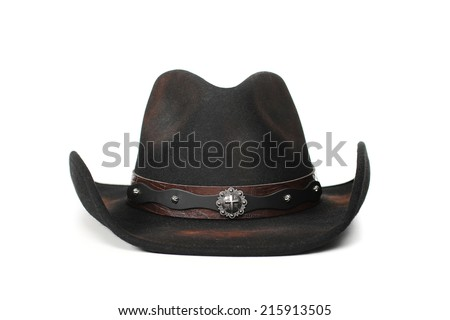 black leather cowboy hat on a white background - stock photo