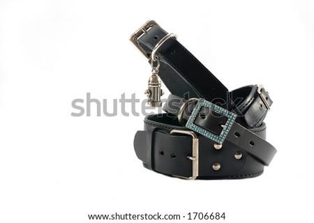 Black leather dog collars - isolated - stock photo
