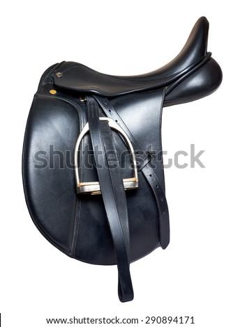 Black leather dressage saddle  isolated on white background - stock photo