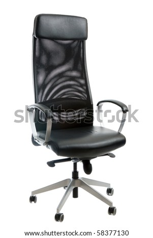 Black leather easy chair on white background - stock photo