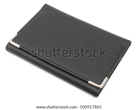 Black leather folder isolated on white - stock photo