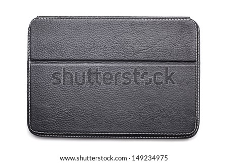 Black leather folder isolated on white background - stock photo