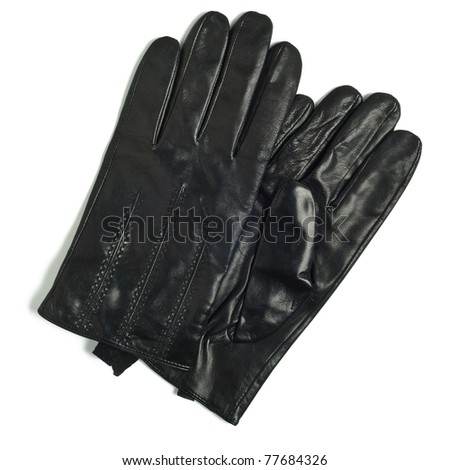 black leather gloves isolated on white