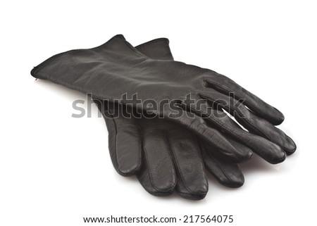 Black leather gloves isolated on white background - stock photo