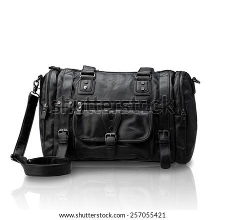 Black leather handbag isolated on white background - stock photo