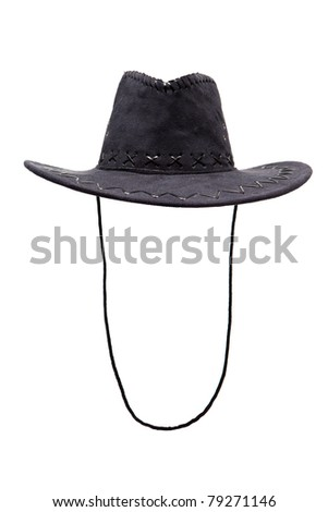 Black leather hat isolated - stock photo
