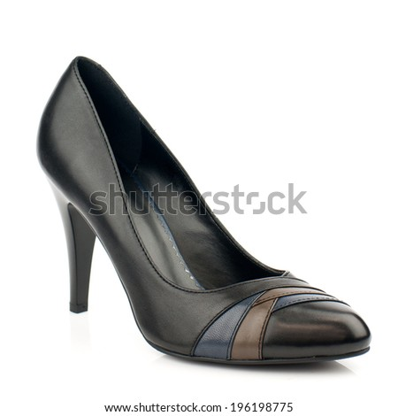 Black  leather  high heel women shoe isolated on white background.
