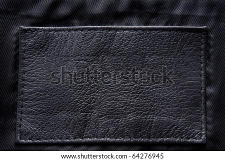 black leather label - stock photo