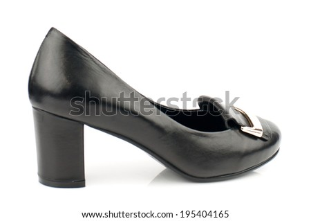 Black  leather  low heel classic  women shoe isolated on white background.Please, look for more photos like this in my sets.