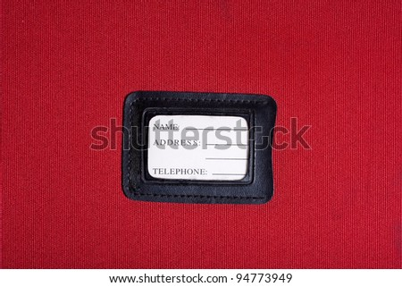Black leather Luggage tag name,address,telephone, - stock photo