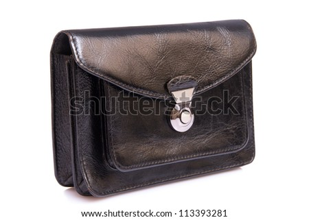 Black leather male bag on a white background - stock photo
