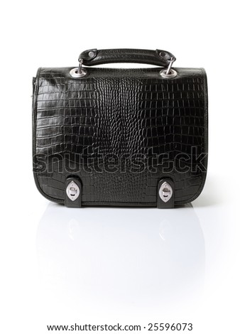 Black leather man's bag on white background