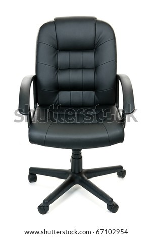 Black leather managers office swivel chair isolated on white background - stock photo