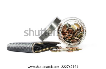 black leather men purse and coins , isolated on white background - stock photo
