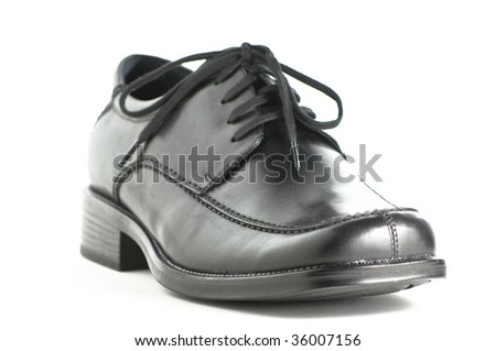 Black leather men's shoes on white background
