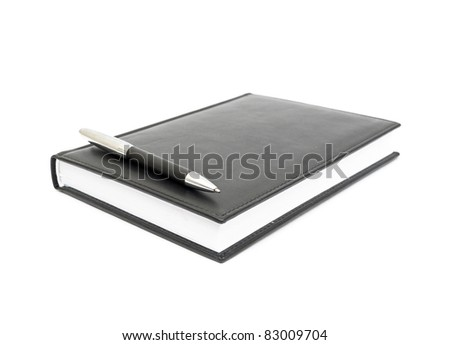 black leather Notebook and pen. isolated on white - stock photo
