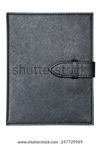 Black leather notebook and pen isolated on white background