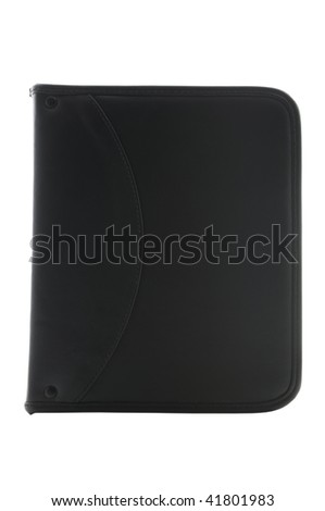 Black leather organizer isolated on white with clipping path - stock photo