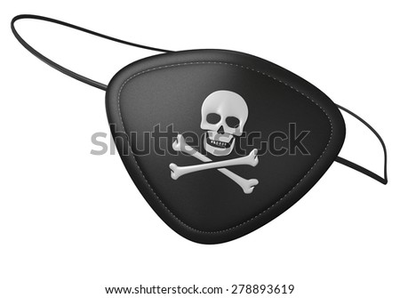 Black leather pirate eyepatch with a scary skull and crossbones - stock photo