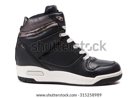 black leather platform sneaker isolated