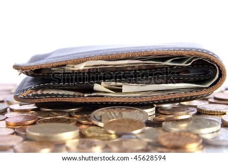 black leather purse - stock photo