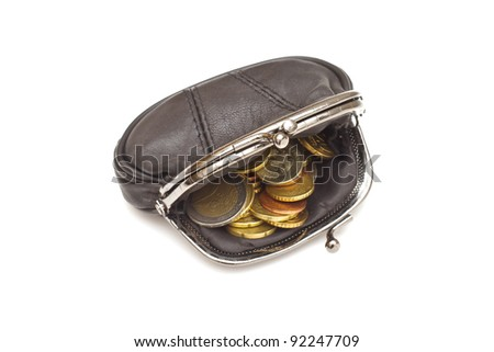 Black leather purse and several euro coins on white background - stock photo