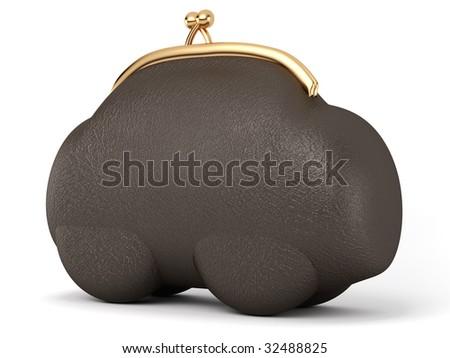 black leather purse as a car - stock photo