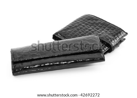Black Leather Purse for Keys and Wallet Isolated on White Background