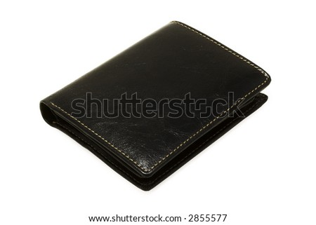 black leather purse on a white background