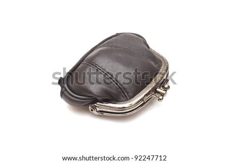 Black leather purse on white background - stock photo