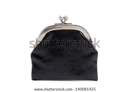 Black leather retro coin purse isolated on white - stock photo