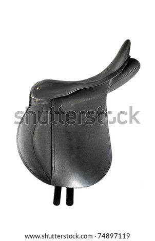 Black leather saddle isolated on white - stock photo