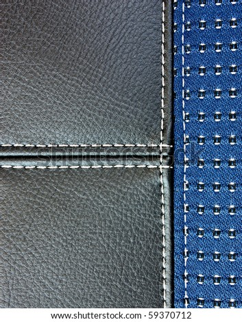 black leather sewing blue textile - stock photo