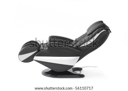 Black leather shiatsu massage chair.